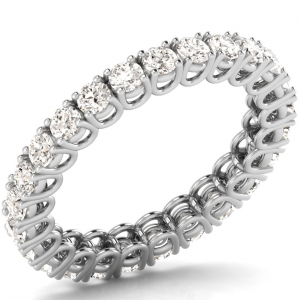 A28299-1Z U Prong Round Brilliant Cut Diamonds Full Eternity Ring in White Gold