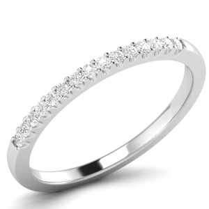 Earth Star Diamonds FR0721 2mm Pave Set Round Diamonds Half Eternity Ring in White Gold