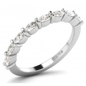F2.4R0528 Claw Set Marquise Cut Diamonds Half Eternity Ring-01