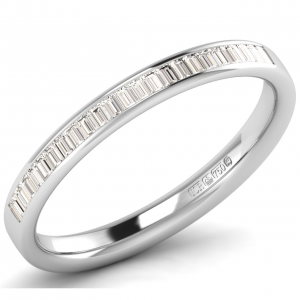 F2.5R1094 Channel Set Buguette Cut Diamonds Half Eternity Ring-01