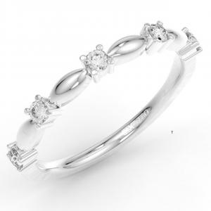F25R1104-HT Round Brilliant Cut Diamonds Half Eternity Wedding Ring-010