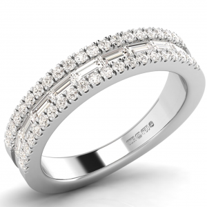 F4.5R1080 Channel Set Baguette & Round Diamonds Half Eternity Wedding Ring-01