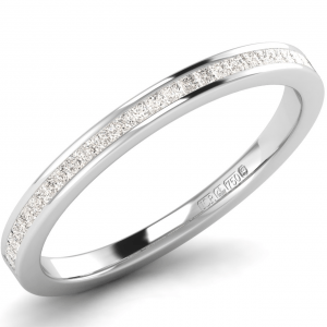 Earth Star Diamonds 2.00mm Channel Set Princess Cut Diamonds Half Eternity Ring in White Gold