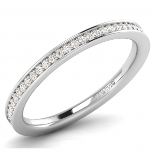 FR01006 2.00MM Pave Set Round Diamonds Half Eternity Ring-01