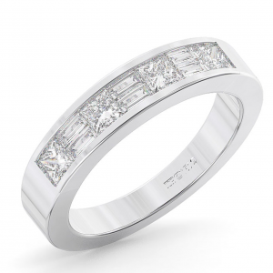 FR01122 Channel Set Baguette Diamonds Half Eternity Ring-01