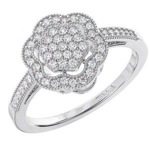 FR01153 Pave Set Round Diamond Cluster Engagement Ring-01