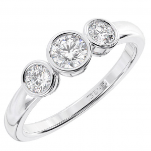 Earth Star Diamonds FR01155 Bezel Set Round Diamonds Three Stone Engagement Ring in White Gold