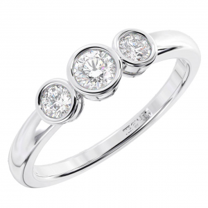 Earth Star Diamonds Bezel Set Round Diamonds Half Eternity Ring in White Gold