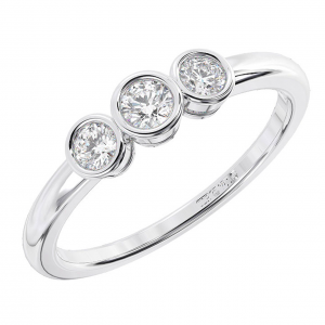 Earth Star Diamonds Bezel Set Round Diamonds Half Eternity Ring White Gold