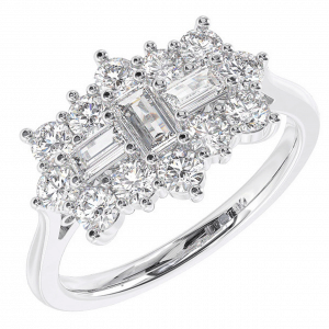Earth Star Diamonds Round & Baguette Cut Diamonds Cluster Ring in White Gold