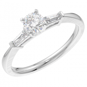 Earth Star Diamonds Round & Baguette Diamonds Claw Set Three Stone Ring Engagement Ring in White Gold
