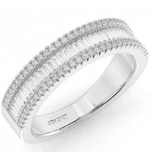 Earth Star Diamonds 4.70MM Round & Baguette Cut Diamonds Half Eternity Ring in White Gold
