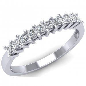 Earth Star Diamonds Princess Cut Diamonds Half Eternity Ring in White Gold