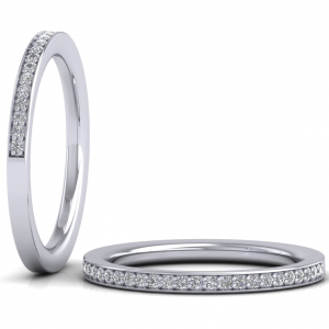 Earth Star Diamonds Round Brilliant Cut Diamonds Half Eternity Ring in White Gold