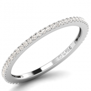 Earth Star Diamonds 1.50mm Pave Set Round Diamonds Half Eternity Ring in White Gold