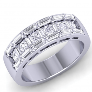 Earth Star Diamonds FR0571 Prog Set Round & Baguette Half Eternity Ring in White Gold