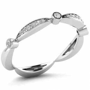 Earth Star Diamonds Pave Set Round Diamonds Half Eternity Ring in White Gold