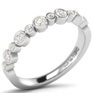 Earth Star Diamonds FR0986 Round Brilliant Cut Diamonds Half Eternity Wedding Ring in White Gold