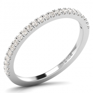 Earth Star Diamonds 1.50mm Claw Set Round Diamonds Half Eternity Ring in White Gold