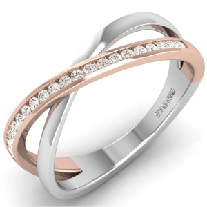 Earth Star Diamonds Channel Set Round Diamonds Half Eternity Ring in White Gold