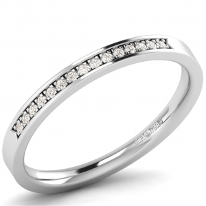 Earth Star Diamonds 2.5mm Pave Set Round Diamonds Half Eternity Ring in White Gold