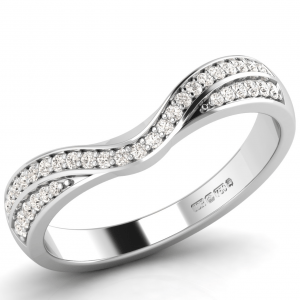 Earth Star Diamonds FR1073 Pave Set Round Diamonds Shaped Half Eternity Ring in White Gold