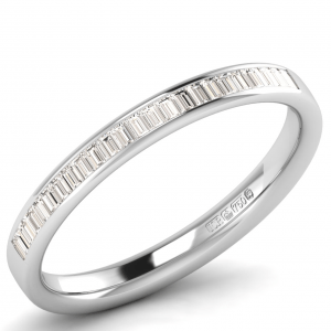 Earth Star Diamonds FR1094 2.5MM Channel Set Baguette Diamonds Half Eternity Ring in White Gold