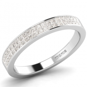 Earth Star Diamonds Princess Brilliant Cut Diamonds Half Eternity Wedding Ring in White Gold