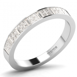 Earth Star Diamonds Princess & Baguette Cut Diamonds Half Eternity Wedding Ring in White Gold