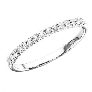 Earth Star Diamonds Round Brilliant Cut Diamonds Half Eternity Wedding Ring in White Gold