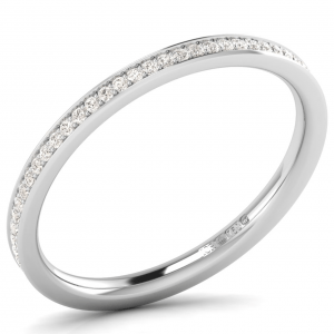 Earth Star Diamonds Micro Pave Set Round Diamonds Full Eternity Wedding Ring in White Gold