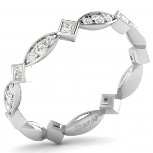 Earth Star Diamonds Round & Princess Brilliant Cut Diamonds Full Eternity Wedding Ring in White Gold