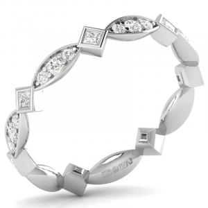 Earth Star Diamonds Round & Princess Brilliant Cut Diamonds Full Eternity Wedding Ring in White Gold