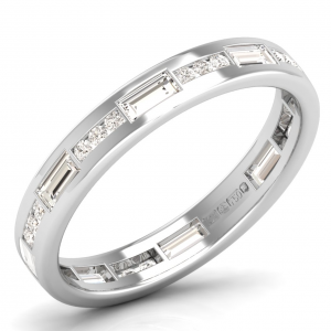 Earth Star Diamonds Round & Baguette Cut Diamonds Full Eternity Wedding Ring in White Gold