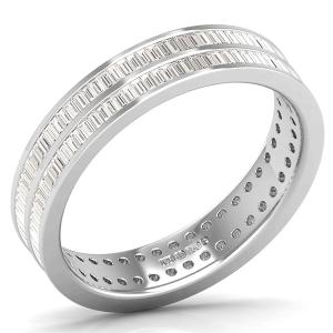 Earth Star Diamonds Baguette Cut Diamonds Full Eternity Wedding Ring in White Gold