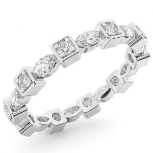 Earth Star Diamonds Round Brilliant & Marquise Cut Diamonds Full Eternity Wedding Ring in White Gold