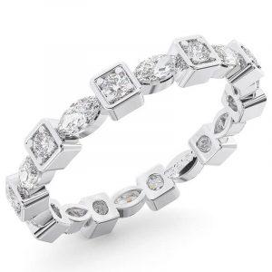 Earth Star Diamonds Round Brilliant & Marquise Cut Diamonds Full Eternity Wedding Ring in White Gold