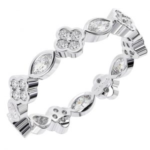Earth Star Diamonds Round & Marquise Cut Diamonds Full Eternity Wedding Ring in White Gold
