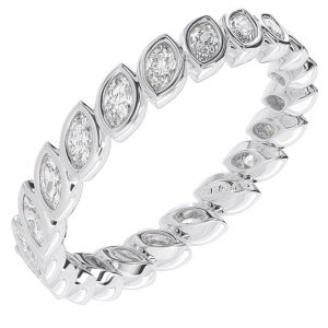Earth Star Diamonds Marquise Cut Diamonds Full Eternity Wedding Ring in White Gold