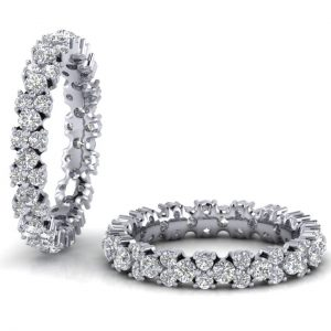 Earth Star Diamonds FR0125 Round Brilliant Cut Diamonds Full Eternity Ring in White Gold