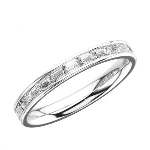 Earth Star Diamonds ERF150525 Baguette Cut Diamonds Full Eternity Wedding Ring in White Gold