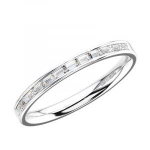Earth Star Diamonds Baguette Cut Diamonds Half Eternity Wedding in White Gold