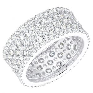 Earth Star Diamonds ERF961 Pave Set Round Diamonds Dress Ring in White Gold