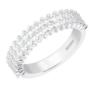 Earth Star Diamonds ERH053150 Invisible Set Princess Brilliant Cut Diamonds Half Eternity Ring White Gold