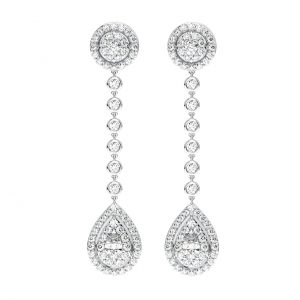 Earth Star Diamonds FE1047 Bezel and Shared Prong Set Round Diamonds Drop Earings In White Gold