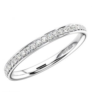 Earth star diamond ERF0527240 Bead and Bright-Cut set Round Brilliant Diamonds Half Eternity Wedding Ring in White Gold
