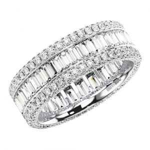 FR1113 Round & Baguette Cut Diamonds Full Eternity Wedding Ring -1