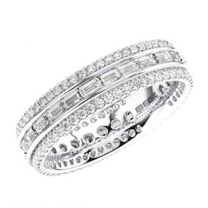 Earth Star ERF1508 Horizontally Set Baguette and Round Diamonds Full Eternity Ring White Gold