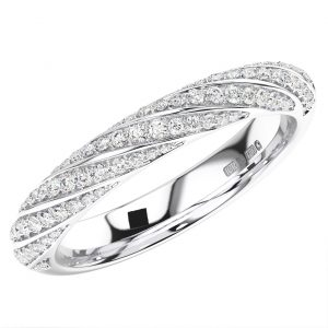 FRH099150 Pave Set Round Briiliant Cut Diamonds Half Eternity Wedding Ring -1
