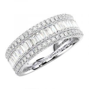 FRH111350 Round & Baguette Cut Diamonds Half Eternity Wedding Ring -1